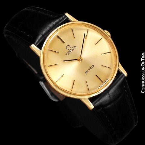 1980 Omega De Ville Vintage Mens Handwound Ultra Thin Dress Watch - 18K Gold Plated and Stainless Steel