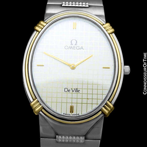1986 Omega De Ville Vintage Mens Dress Watch - Stainless Steel and 18K Gold