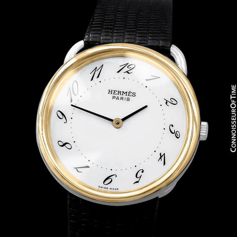Hermes Arceau Midsize Mens or Larger Unisex Watch - 18K Gold Plated and Stainless Steel