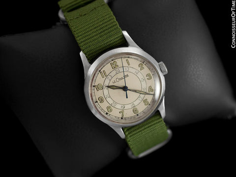 1944 Jaeger LeCoultre Vintage Mens Midsize Watch, 24 Hour Military Style - Stainless Steel