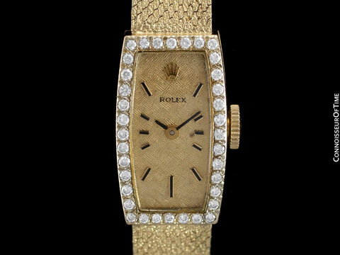 1980's Rolex Ladies Vintage Dress Bracelet Watch - 14K Gold and Diamonds