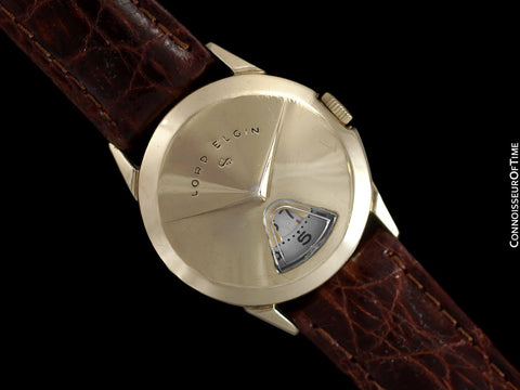 "1950's Lord Elgin Direct Read ""Chevron"" Digital Jump Hour Watch - 14K Gold Filled"