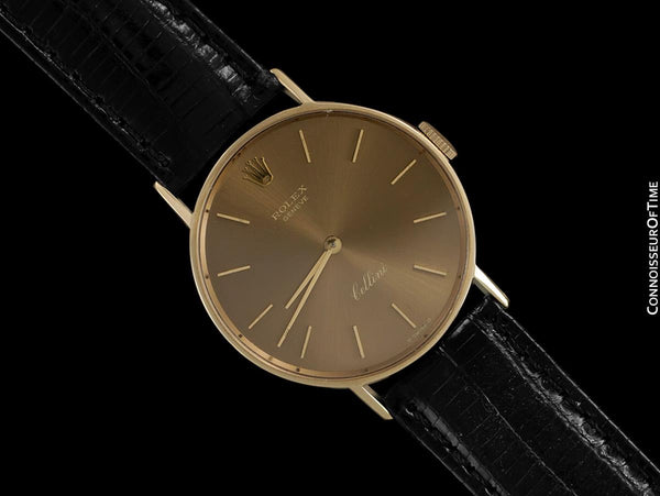 1974 Rolex Cellini Vintage Mens Midsize 31mm Round Monochromatic Watch, Dark Champagne Dial, Ref. 3833 - 14K Gold