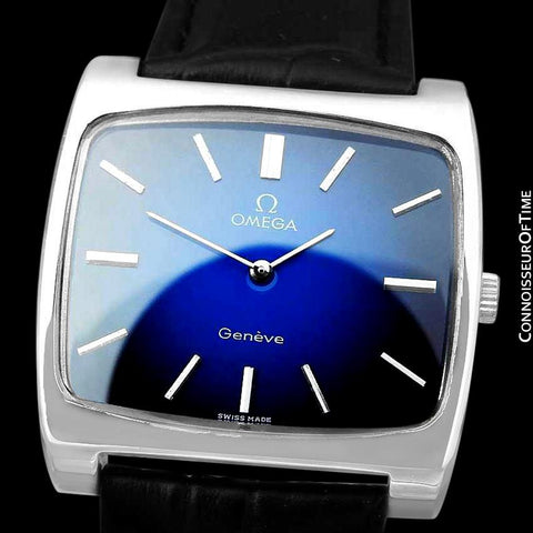 1972 Omega Geneve Vintage Mens Full Size Handwound TV Watch with Vignette Dial - Stainless Steel