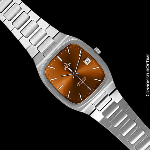 1980 Omega Seamaster Classic Vintage Mens Burnt Sienna / Copper Brown Dial Quartz Watch, Date - Stainless Steel