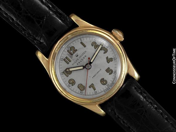 "1940's Rolex Oyster Falcon Vintage Mens Midsize ""Boys"" WWII Military Style Watch - 14K Gold Filled & Stainless Steel"