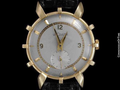 1952 Jaeger-Lecoultre Vintage Mens Watch, Rare Bradley II Model, 14K Gold - The Ships Wheel