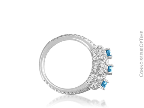 18K White Gold & Blue Diamond 3-Stone Wedding Ring - 1.82 Carats TDW