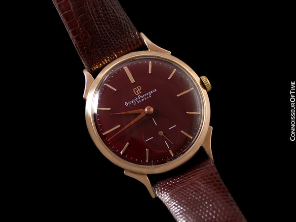 1960's Girard Perregaux Vintage Large 37mm Mens Wine Dial Dress Watch - 18K Rose Gold
