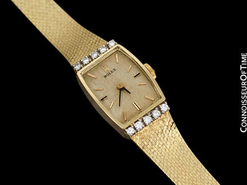 1980's Rolex Vintage Ladies Dress Watch - 14K Gold & Diamonds