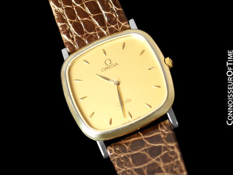Omega De Ville Mens Midsize Dress Watch - Solid 18K Gold and Stainless Steel