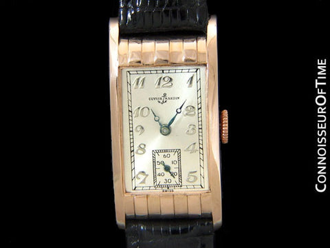 1930's Ulysse Nardin Art Deco Vintage Mens Dress Watch - 14K Rose Gold