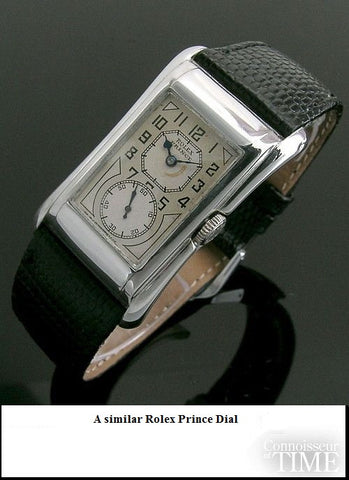 1930 Gruen Vintage Techni - Quadron / Rolex Prince Watch, 14K White Gold-Filled - Doctor's Watch