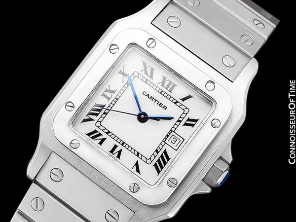 Cartier Santos Automatic Mens Bracelet Watch - Stainless Steel
