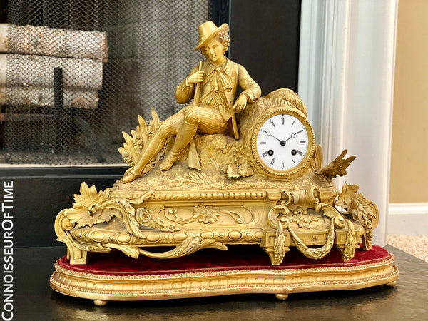 French Gilt-Bronze Figural Hunter Mantel Clock - Owned & Used in Master Bedroom by Johnny Cash