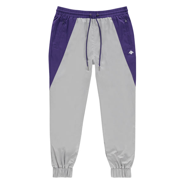 MOKSI GREY AND PURPLE TRACK PANTS