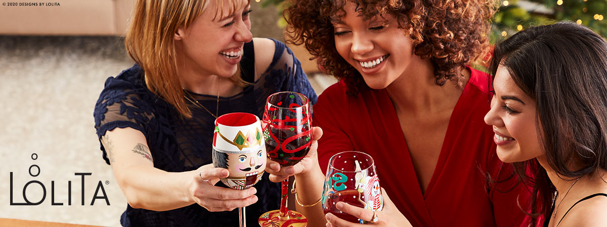 Lolita Christmas Wine Glasses
