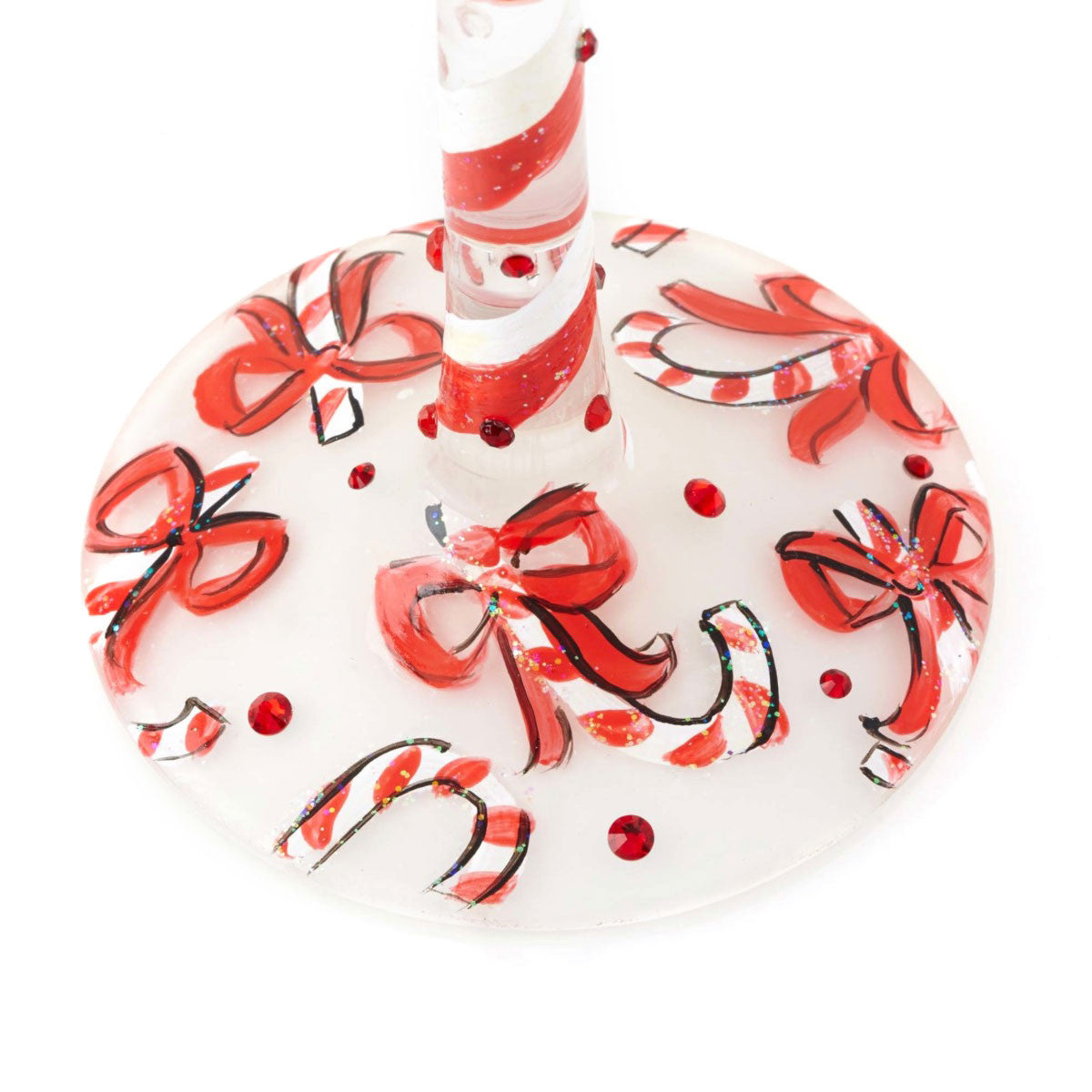 Glass candy cane ornaments - Wine Glass Candy Cane Dreams