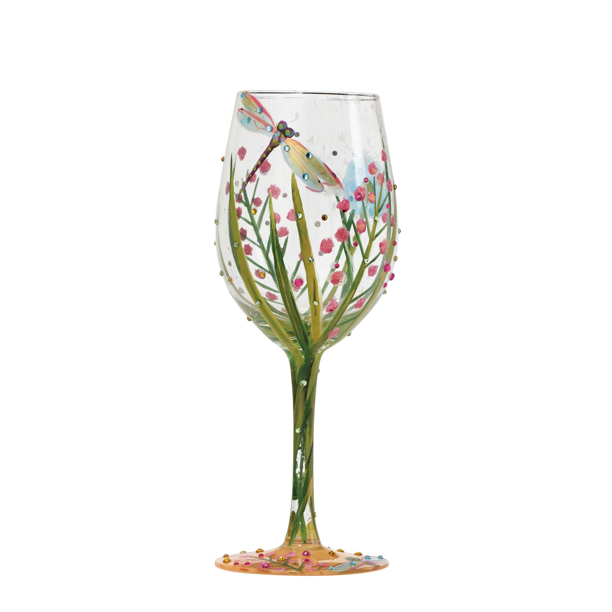"67a7b74901e ""Dragonfly Summer"" Hand Painted Wine Glass Gift. """