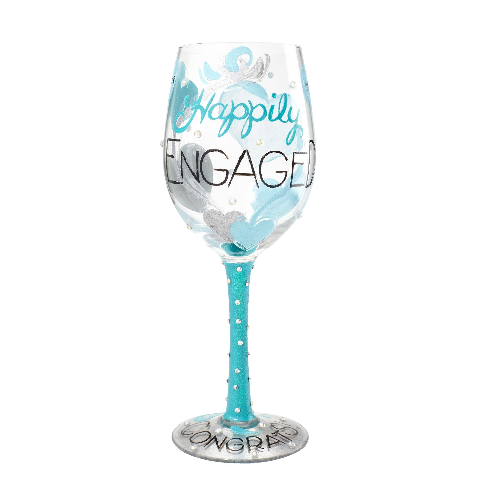 """d9181970c73 """"Happily Engaged"""" Hand painted Wine Glass"""