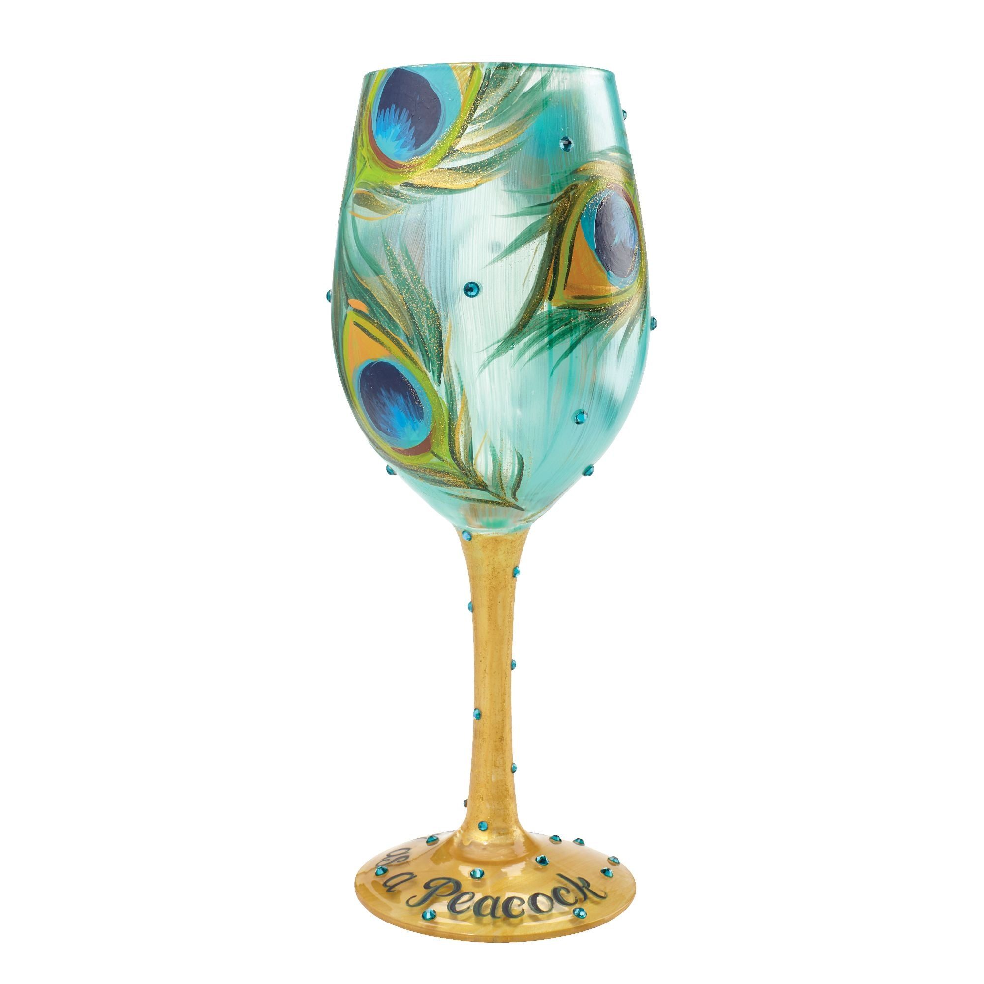 "Painted Couple Peacock Wedding Gifts Unique Delicate Home: ""Pretty As A Peacock"" Hand Painted Wine Glass, 15 Oz"