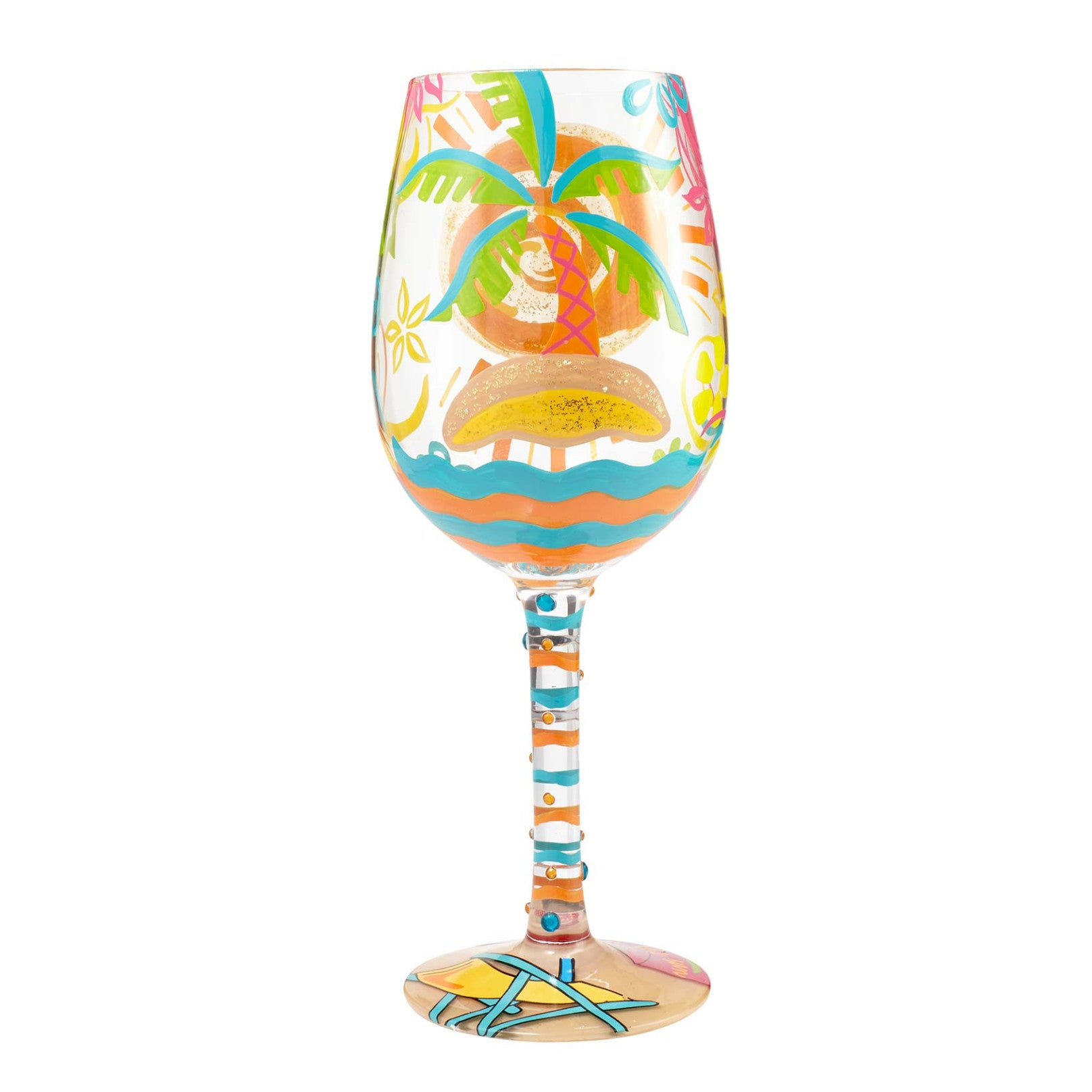 """56e36c15dfb2d """"Here Comes Summer"""" Hand painted Wine Glass, 15 oz. - Designs by Lolita"""