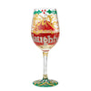 """Naughty X-Mas"" Hand-painted Artisan Christmas Wine Glass, 15 oz."