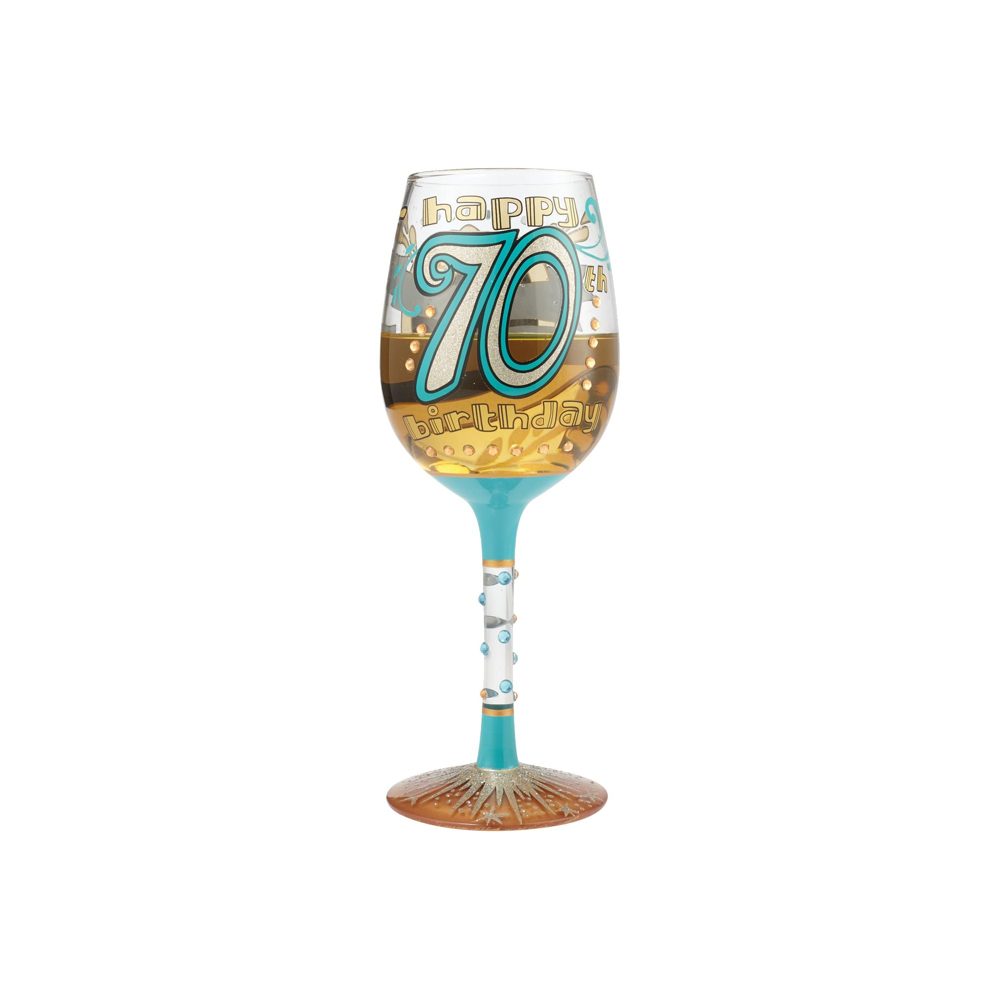 70th Birthday Hand Painted Wine Glass 15 Oz