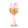 """Pink Ribbon"" Hand painted Drinking Glass for Breast Cancer Research, 15 oz."
