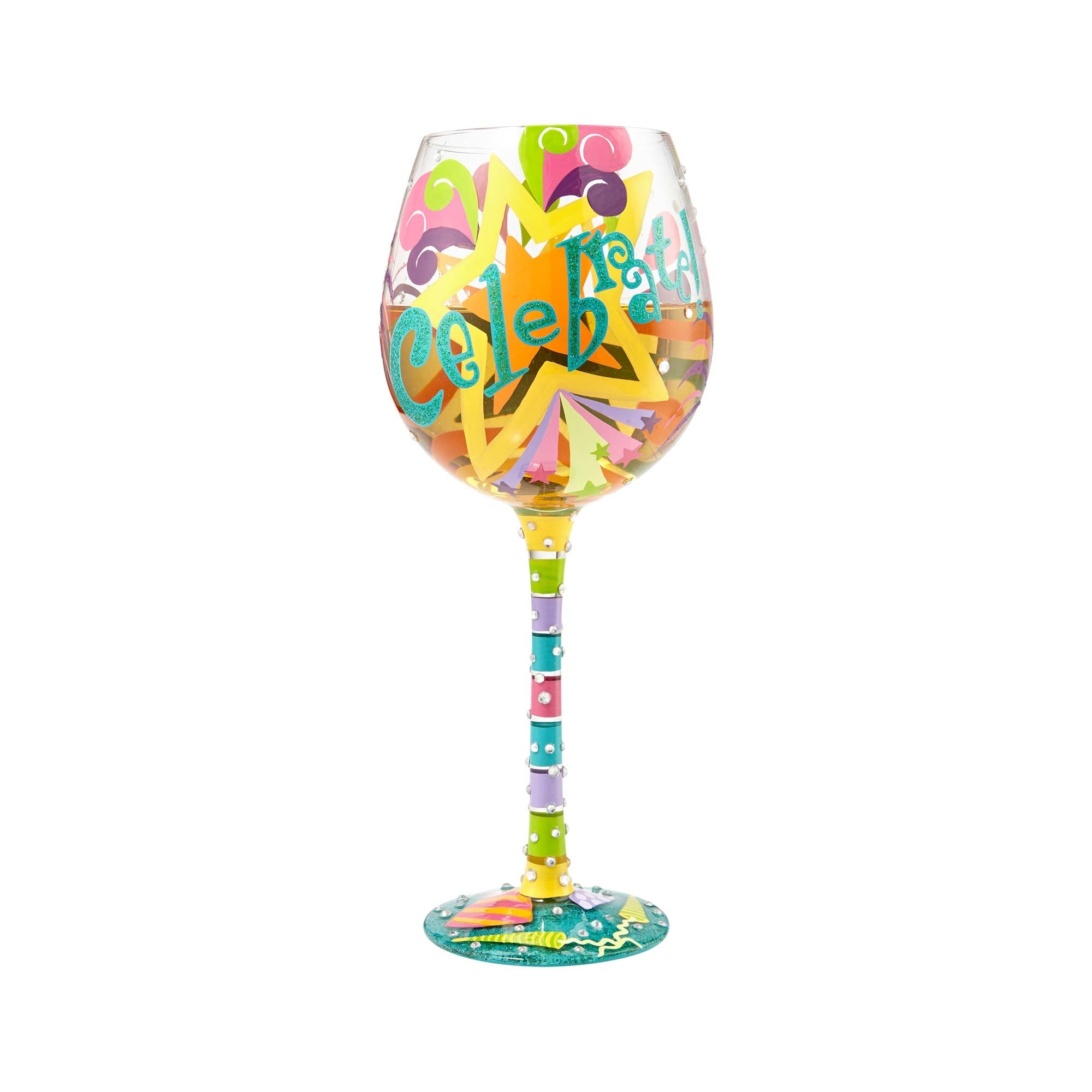 "f3498dc143aa ""Bling Celebrate"" Hand painted Super Bling Wine Glass"
