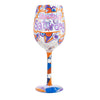 Saturday Shoutout Wine Glass, 15 oz, Multicolor