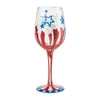 """Land of the Free"" Hand-Painted Artisan Wine Glass, 15 oz."
