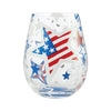 """Home of the Brave"" Hand-Painted Artisan Stemless Wine Glass, 20 oz."
