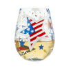 Home of the Brave Hand-Painted Artisan Stemless Wine Glass, 20 oz.