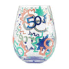 """50 and Fierce"" Hand-Painted Artisan Stemless Wine Glass, 20 oz."