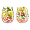 """Tutti Fruiti"" Hand-Painted Artisan Stemless Wine Glass, 20 oz, set of 2"