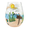 Beach Please Hand-Painted Artisan Stemless Wine Glass, 20 oz.