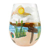 """Beach Please"" Hand-Painted Artisan Stemless Wine Glass, 20 oz."
