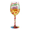 """Congratulations, Shoot for the Stars"" Hand-Painted Artisan Wine Glass, 15 oz."
