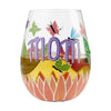 Mom, You Helped Me Fly Hand-Painted Artisan Stemless Wine Glass, 20 oz.