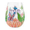 """Mom, You Helped Me Fly"" Hand-Painted Artisan Stemless Wine Glass, 20 oz."