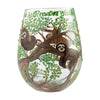 """Sloth Time"" Hand-Painted Artisan Stemless Wine Glass, 20 oz."