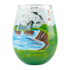 """Adirondack"" Hand-Painted Artisan Stemless Wine Glass, 20 oz."