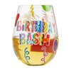 """Birthday Bash"" Hand-Painted Artisan Stemless Wine Glass, 20 oz."