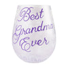 """Best Grandma"" Hand-Painted Artisan Stemless Wine Glass, 20 oz."