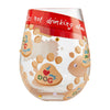 """Love My Dog"" Hand-Painted Artisan Stemless Wine Glass, 20 oz."