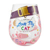 """Love My Cat"" Hand-Painted Artisan Stemless Wine Glass, 20 oz."
