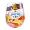 Love My Cat Hand-Painted Artisan Stemless Wine Glass, 20 oz.