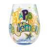 """Happy Retirement"" Hand-Painted Artisan Stemless Wine Glass, 20 oz."