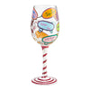 """Liquid Therapy"" Hand-Painted Artisan Wine Glass, 15 oz."